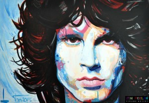Portrait of Jim Morrison, The Doors, painting by Dutch painter Ton Peelen