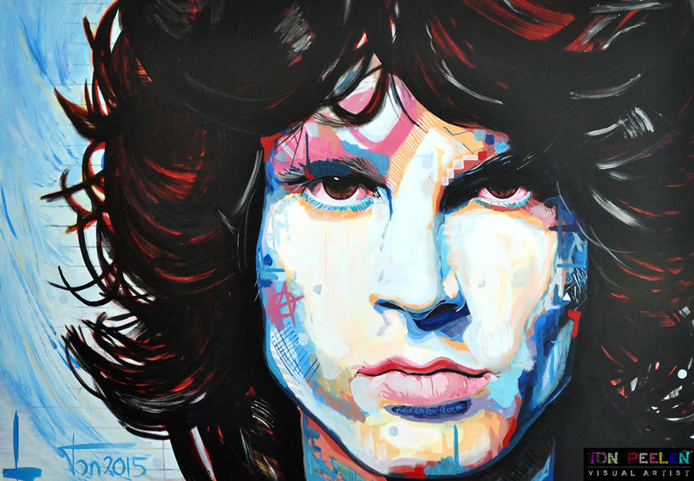 Portrait of Jim Morrison, The Doors, painting by Dutch painter Ton Peelen