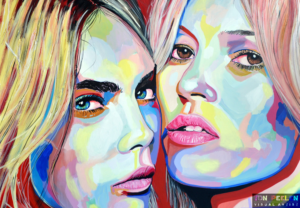 Kate Moss and Cara Delevingne, painting By Dutch artist Ton Peelen