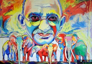 portrait of Mahatma Gandhi by Dutch artist Ton Peelen