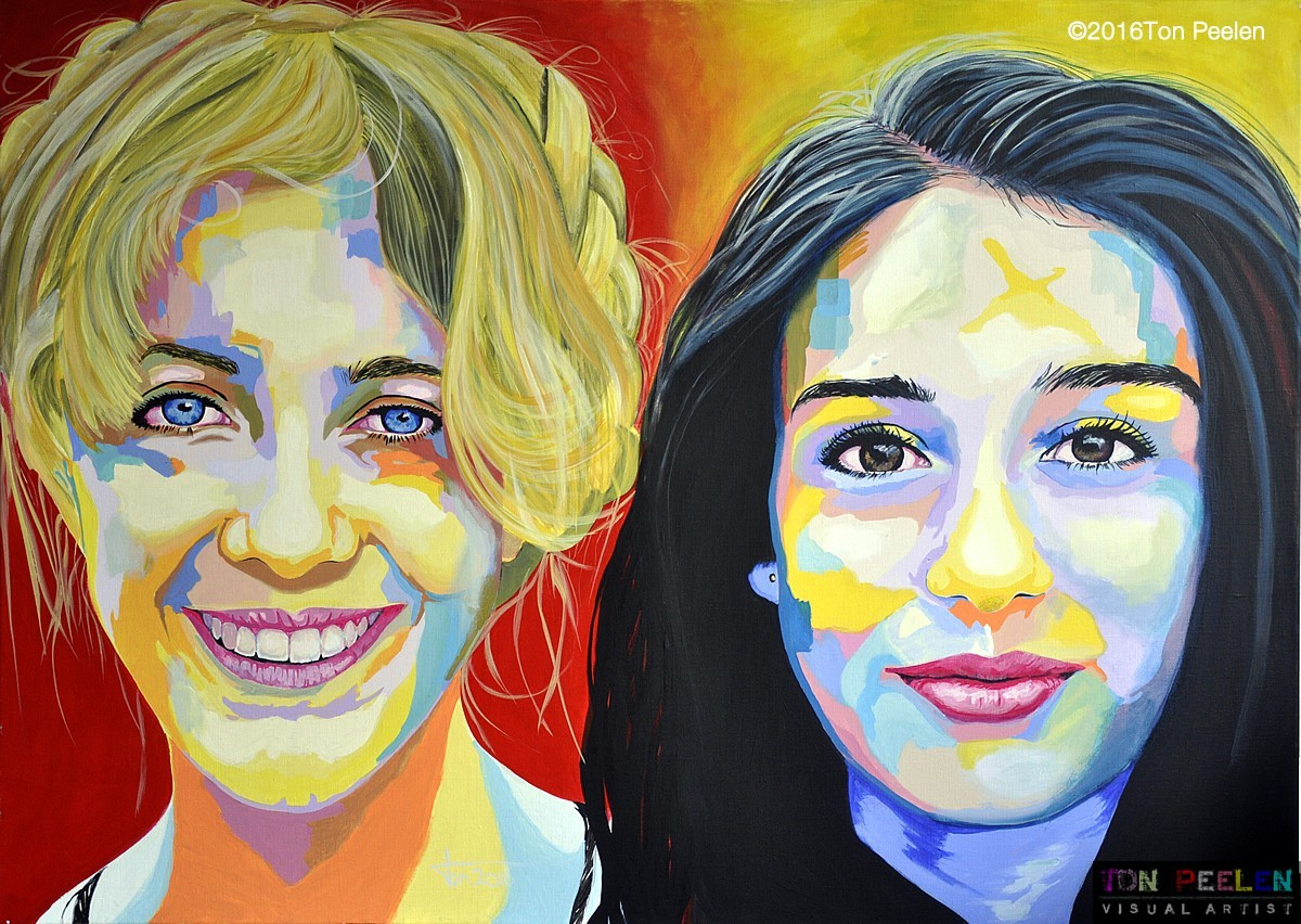 Chicas de Ibiza, portrait by Dutch artist Ton Peelen