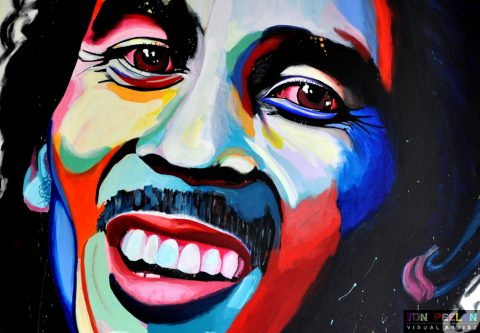 portrait of Bob Marley by Dutch artist Ton Peelen