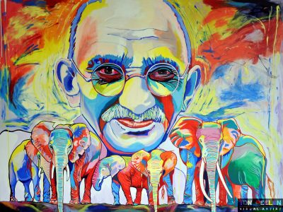 Portrait of Mahatma Gandhi with elephants by Dutch artist Ton Peelen
