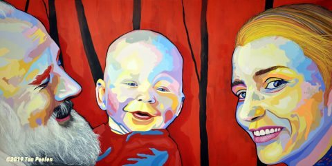 Commissioned portrait of a father, mother & son.
