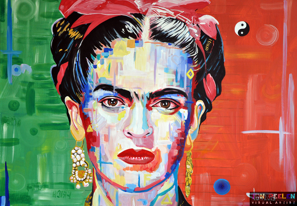 portrait of Frida Kahlo by Dutch painter Ton Peelen