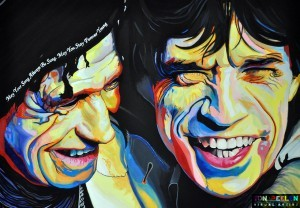 portrait of Keith Richards & Mick Jagger, painting by Dutch artist Ton Peelen