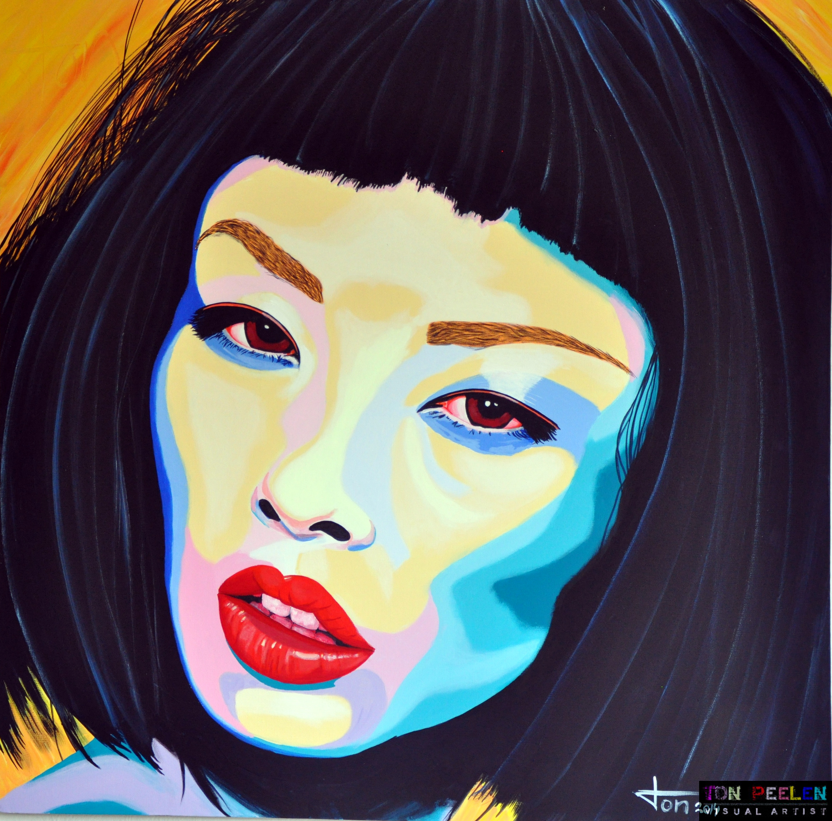 Portrait of model Alice Ma by Dutch artist Ton Peelen