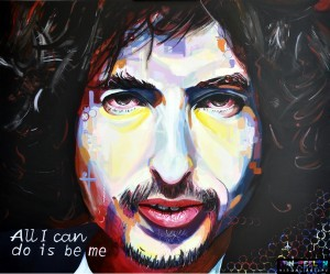 Portrait of Bob Dylan, painting by Dutch artist Ton Peelen