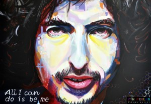 portrait of Bob Dylan, painting by Dutch artist Ton Peelen