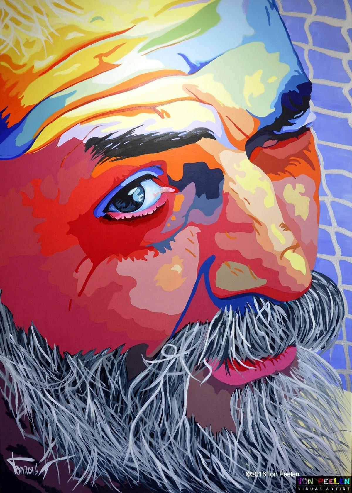 Painting Hippie guy on Ibiza by Dutch artist Ton Peelen